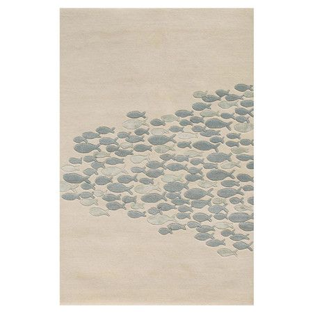 Lend a touch of coastal flair to your living room or master suite with this wool and art silk rug, showcasing a school of fish motif in blue and ivory. ...