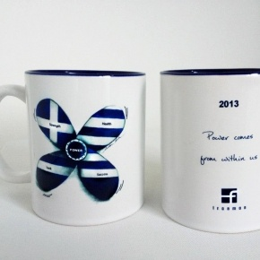 "# Franman  ""2013 power propeller"" mug corporate gift.    Concept :  ""2013 power comes from within us.""      Franman christmas & new year 2013 corporate story with custom made drawings and designs.    Inspired from the brand identity , philosophy and colors we came up with a unique design for the company's 2013 luck charms & corporate gifts                             artwork & design by Caroline Rovithi (www.caroline.gr)     Thank you Franman for ""making this story happen"" with us !"
