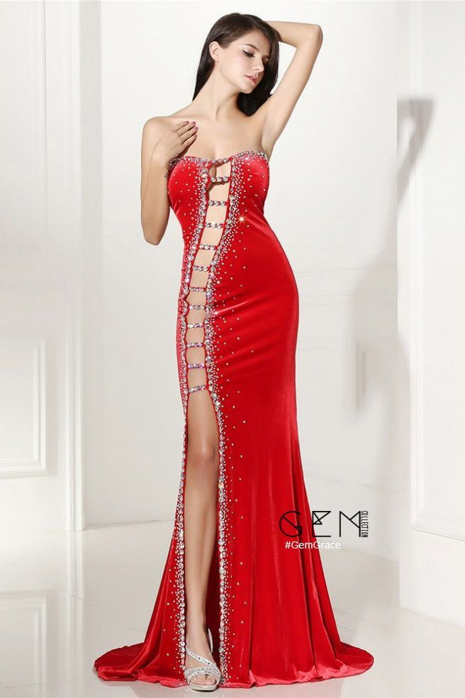 2f88c2e360 $168.99, Prom Dresses Sexy Cut-out Fitted Mermaid Red Prom Dress ...