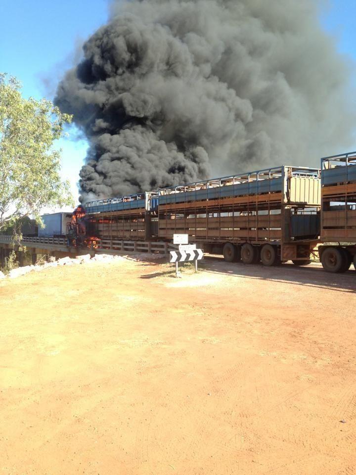 Road train fire