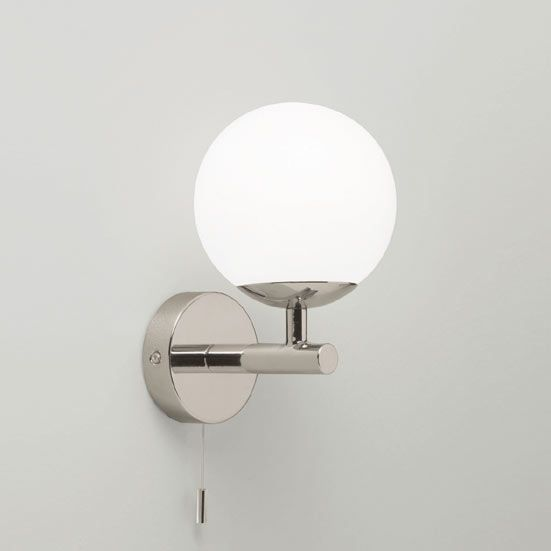 Simple and modern, also good for bathrooms -California Wall Light with  Round Opaque White Shade and Pull Cord Switch - 49 Best Wall Lights Images On Pinterest Wall Lights, Wall Lamps