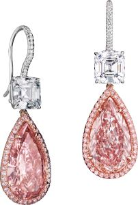 #FANCY #COLORED #DIAMONDS #FANCY #INTENSE #PINK PEAR-SHAPED #DIAMOND #EARRINGS Two #pear-shaped #Fancy Intense #Pink #diamonds weighing a total of 10.90 #carats suspended from two square-emerald-cut #diamonds totaling 4.04 carats, highlighted by pink and #collection #white pave #diamonds totaling .90 carats, #handcrafted in #platinum and #18 #karat #rose #gold