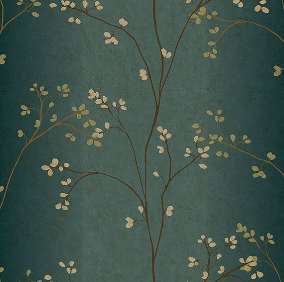 Budding Branches on Tranquil Blue Green Rubbed Tapestry Faux - Floral, Asian Decor, Organic, Botanical - Wallpaper By The Yard - BR6224 so