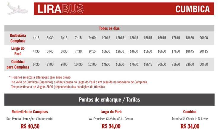 Horários Cumbica - Campinas