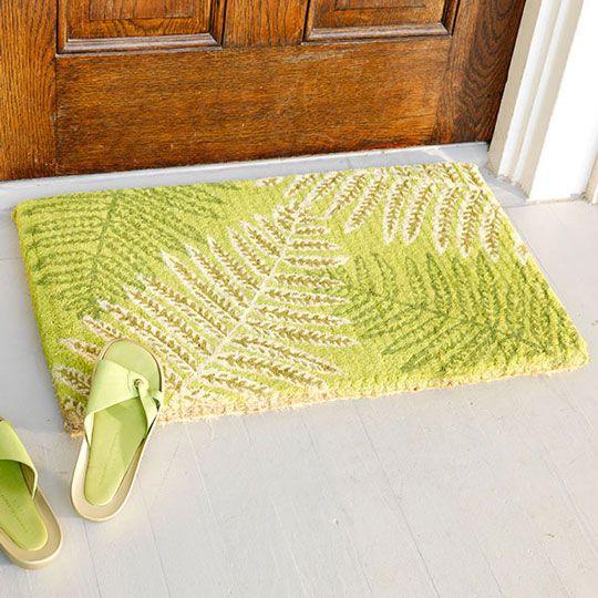 lime green tropical doormat