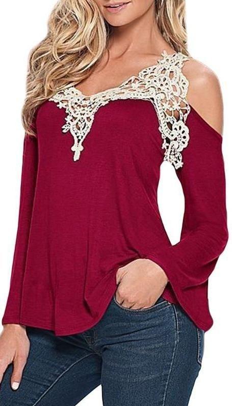 Lace V-Neck Long Sleeve Cold Off Shoulder Loose Top