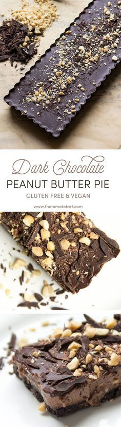 Gluten Free & Vegan Chocolate Peanut Butter Pie inspired by Girl Scout Cookies on www.thetomatotart...