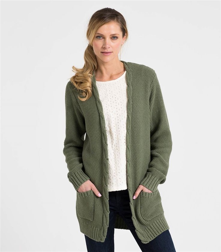 Womens 100% Cotton Edge to Edge Cardigan Sage Marl / Style Code: T010L #pure #cotton