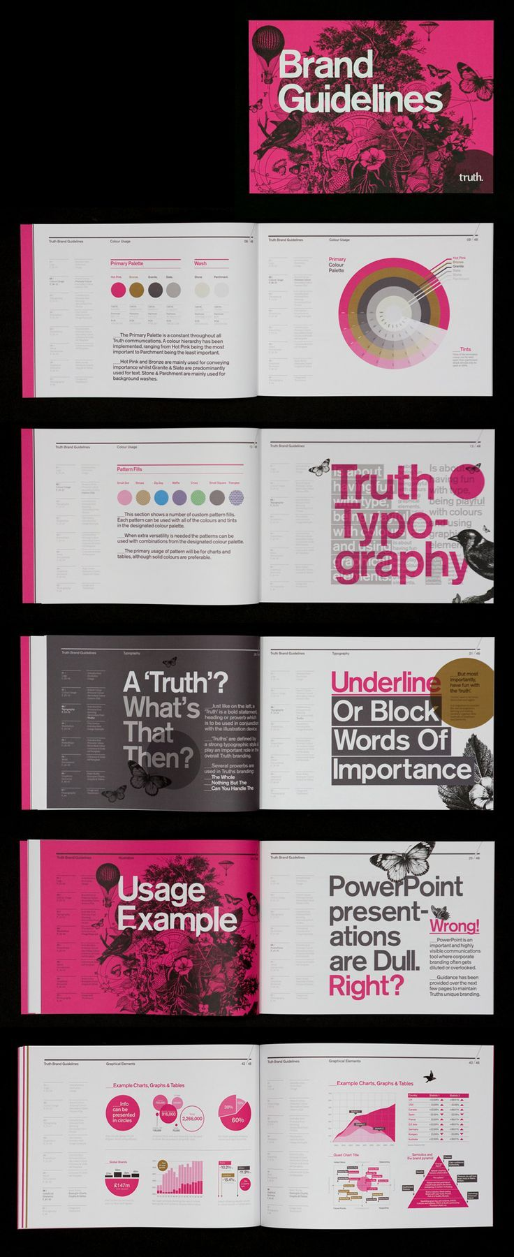 Truth Brand Guidelines [Designer - Mash Creative] I really like the typography formatting used and the colors. #marketing #blog