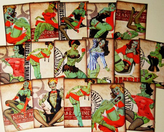 Zombie Pin-Up Labels - 16 Creepy Kitsch Stickers with Original Junkmill Designs, Zombie Apocalypse, Halloween Sticker Pack, Ephemera Pack