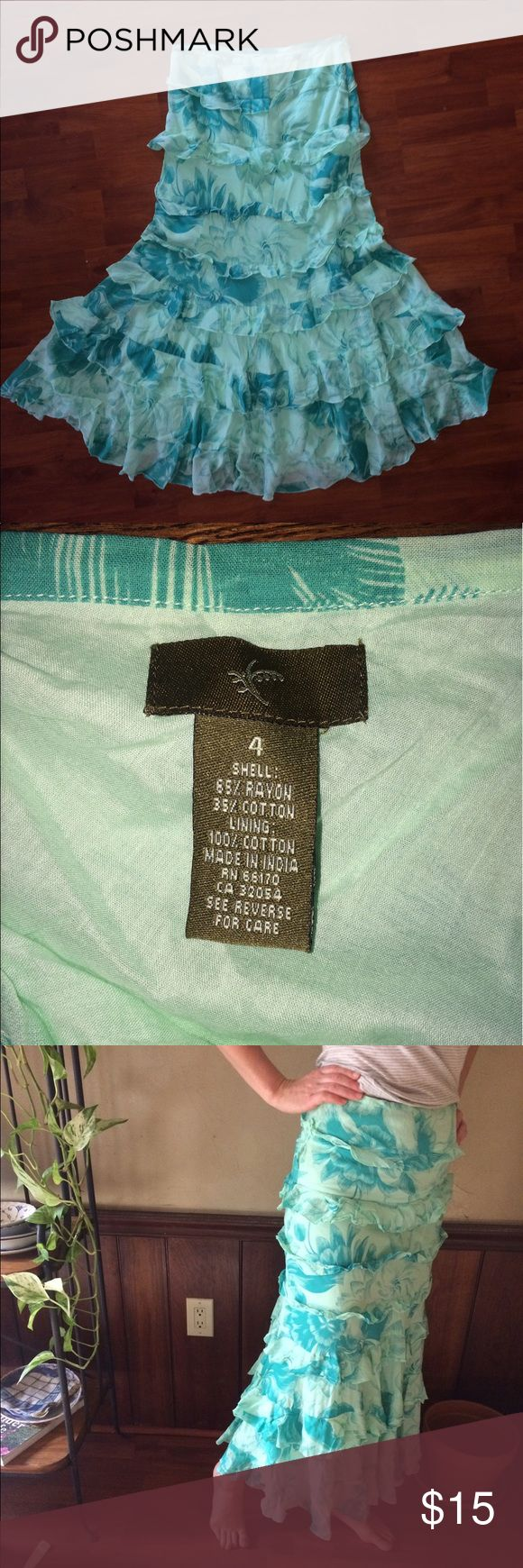 """Anthropologie Long Ruffled Tiered Skirt Fei from Anthropologie. Very good used condition. Lined the entire length. Side zipper. I am 5 feet 8"""" and 140 pounds for reference. I can't fully zip this anymore as I've gained too much weight. Really cute skirt. Sea foam green and subdued teal blue combination. Anthropologie Skirts Maxi"""
