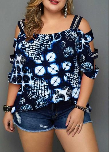 Plus Size Printed Ladder Sleeve Navy Blue Blouse | Rosewe.com - USD $30.20 #plus... 7