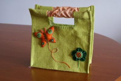 Bolsa de arpillera color verde - artesanum com