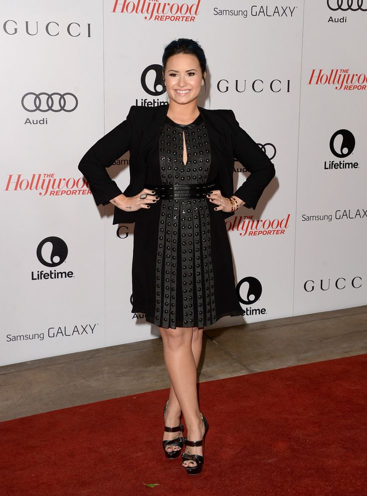 Demi Lovato Cocktail Dress - Demi Lovato worked the red carpet looking edgy-chic in a studded black Belstaff dress at the Women in Entertainment Breakfast.