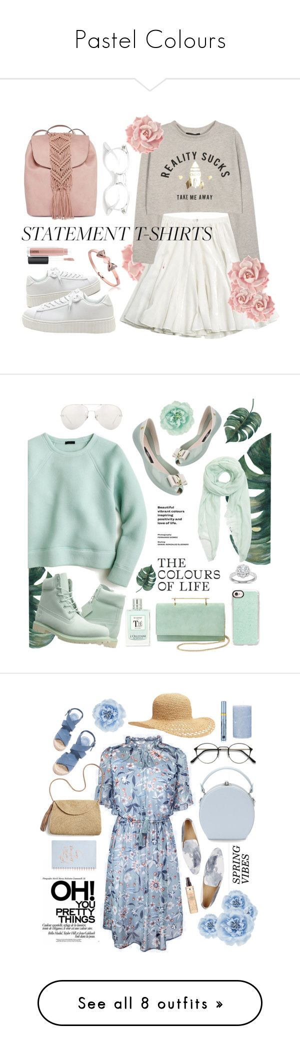 """""""Pastel Colours"""" by maykarsy ❤ liked on Polyvore featuring CÉLINE, T-shirt & Jeans, MAC Cosmetics, Melissa, J.Crew, Linda Farrow, Monsoon, Furla, M2Malletier and Casetify"""