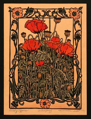 Field Of Poppies block print by Kathleen West