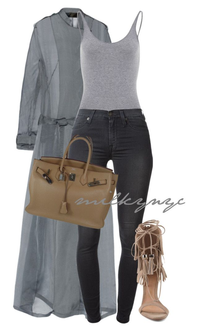 Untitled #599 by mizzbehave on Polyvore featuring polyvore fashion style Haider Ackermann 7 For All Mankind Schutz Hermès