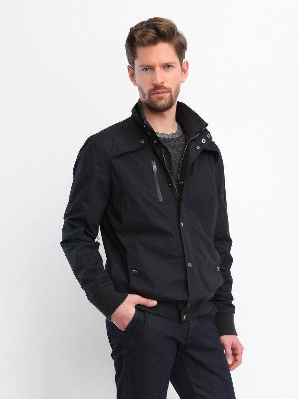 kurtka krótka męska gładka, z aplikacją czarna - SKU0481 TOP SECRET