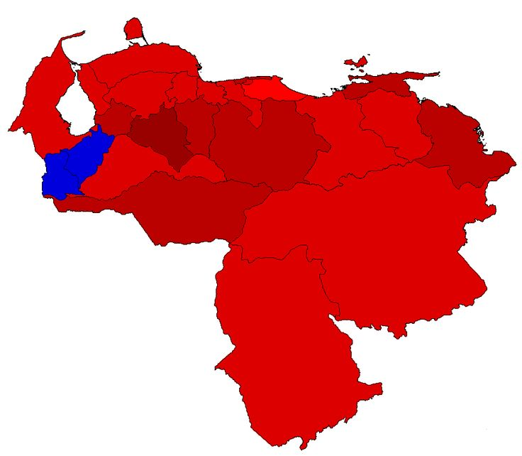 2012 Venezuela Presidential Election Results Map Red Denotes States Won By Chavez Blue Denotes