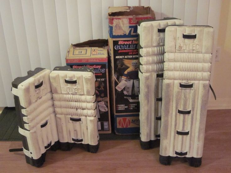 Two Mylec Street Hockey Goalie Pad Sets 32'' Large 22'' Small Boxes White Green #MylecSports