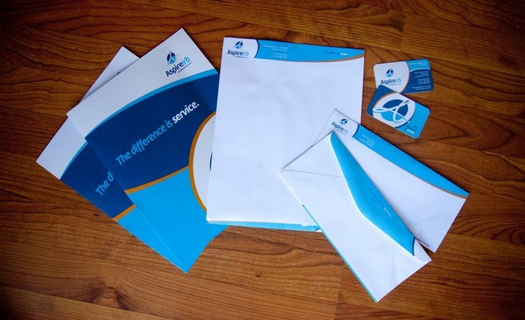 Aspire IRB stationery set, including pocket folders, letterheads, envelopes, and business cards.