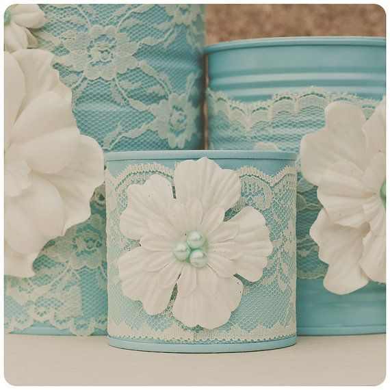 Love the lace!  Tin can makeup organizer set. Office storage. by StyleJarsandCans, $45.00