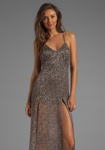FOR LOVE & LEMONS Heart of Gold Maxi Dress in Leopard