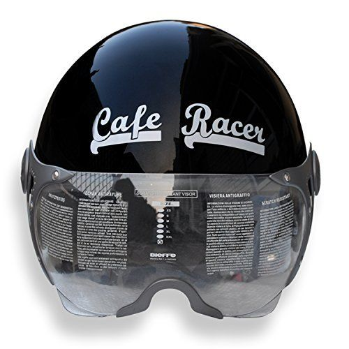 asco open face cafe racer 95026 black helmet | cafe racer helmets