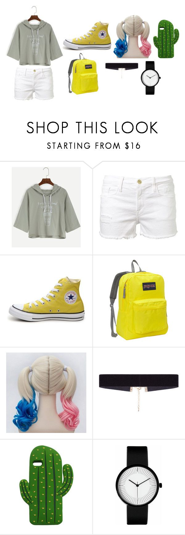 runaway style by tiyati on Polyvore featuring Frame Denim, Converse, JanSport, 8 Other Reasons and MANGO