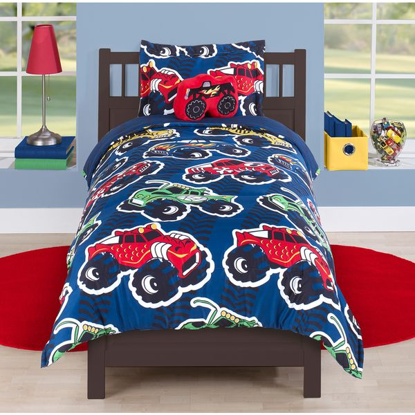 This fun monster truck themed comforter set features multicolored trucks on a blue background. Comfortable and stylish, this set is designed to last for years to come. It is also conveniently machine