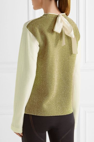Fendi - Roma Metallic Intarsia Wool Sweater - Cream