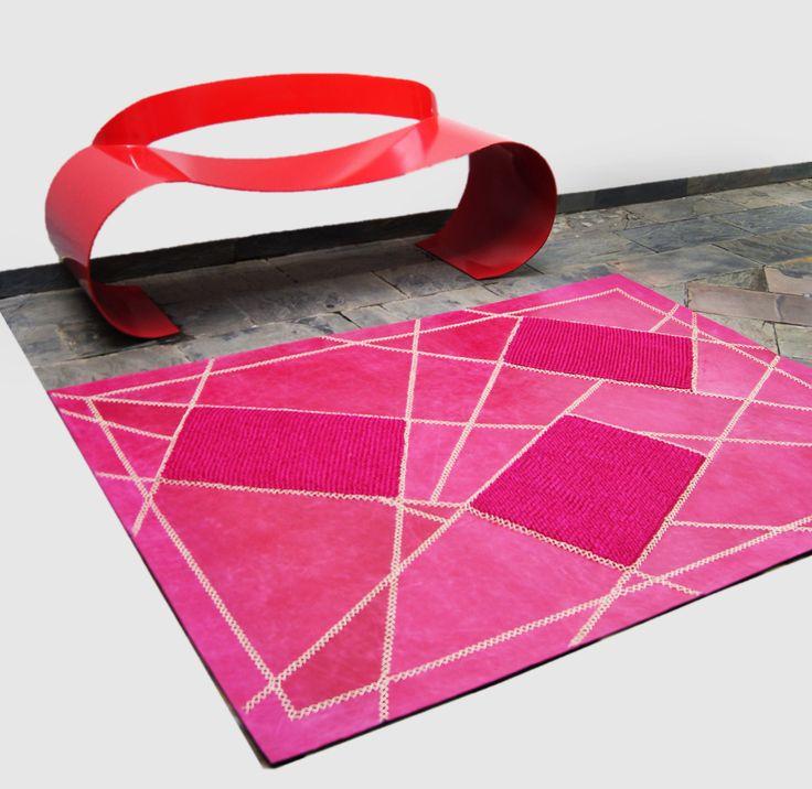 Mezcla de fibras naturales, tapete fabricado en cuero y fique.