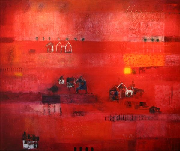 Hus i rødt/Houses in Red 120x100  (Sold)