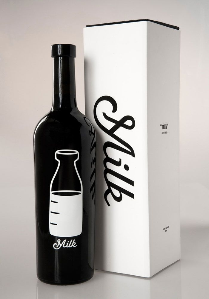 "Harvey Milk wine pays tribute to the late and great first openly gay US politician. The half full bottle of milk symbolizes his ""half full"" positive attitude despite such adversity. -Emily Hale"