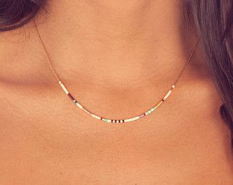 Extra Thin Beaded Multicolor Gold Necklace // by Kurafuchi on Etsy