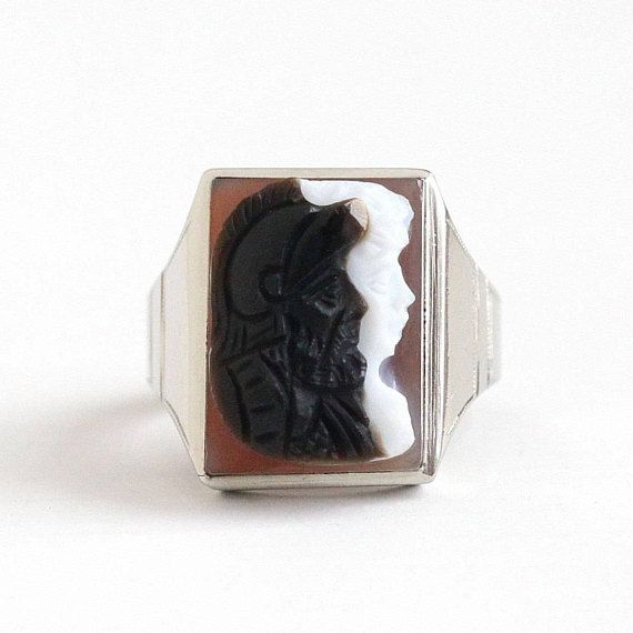 Sale - Antique 10k White Gold Roman Warrior Soldier & Lady Cameo Ring - Art Deco Size 9 1/2 Brown White Sardonyx Gem Men's Fine Jewelry by Maejean Vintage on Etsy