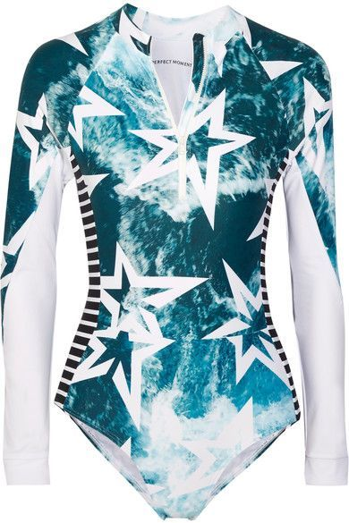 Perfect Moment's 'Spring' swimsuit is printed with rolling waves and the label's signature star motif. Ideal for water sports, or if you simply prefer more coverage, it's cut from thick stretch fabric with long sleeves and in-built UV protection. We especially like the slimming striped panels.