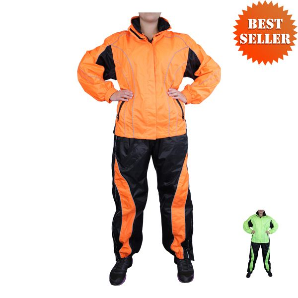 Women's Two Piece High Visibility Motorcycle Rain Suit