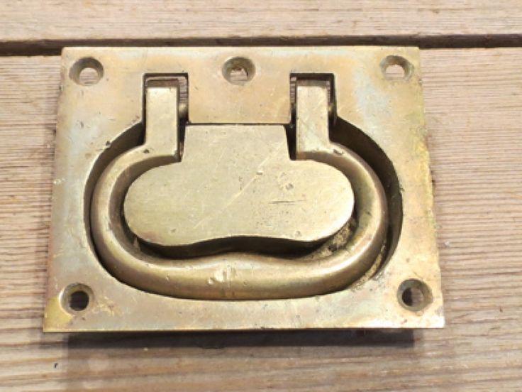 Tool Box Handle Old Flush Deck Pull Floor Antique Barn Trap Door Cast Brass  | EBay