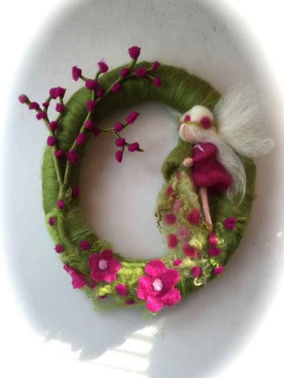 Spring Wreath.Spring Fairy . Needle Felted. by FilzArts on Etsy