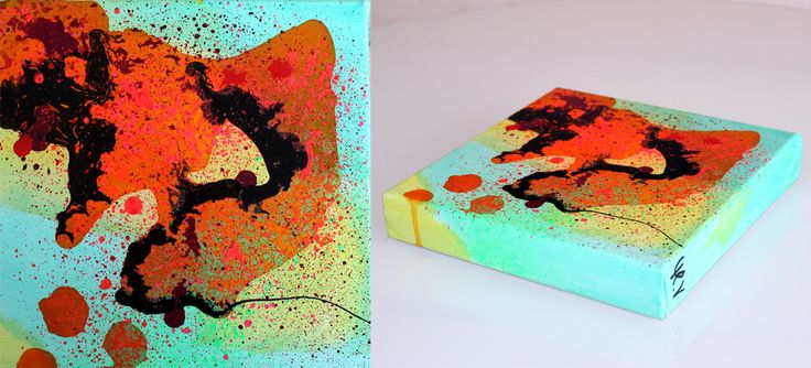 Small abstract painting by artist Mette Vester www.MetteVester.dk