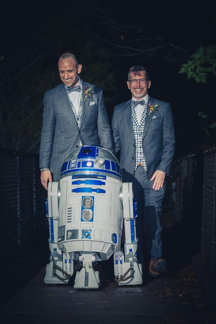 R2 (courtesy of R2 Builder Wayne Orr) was both our ring bearer and played music for our entrance and exit.  Suits are Ted Baker, vests from Suit Supply