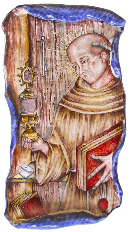 Parchment James of the Marches. Majolica tablet modeled as parchment and representing St. James of the Marches.