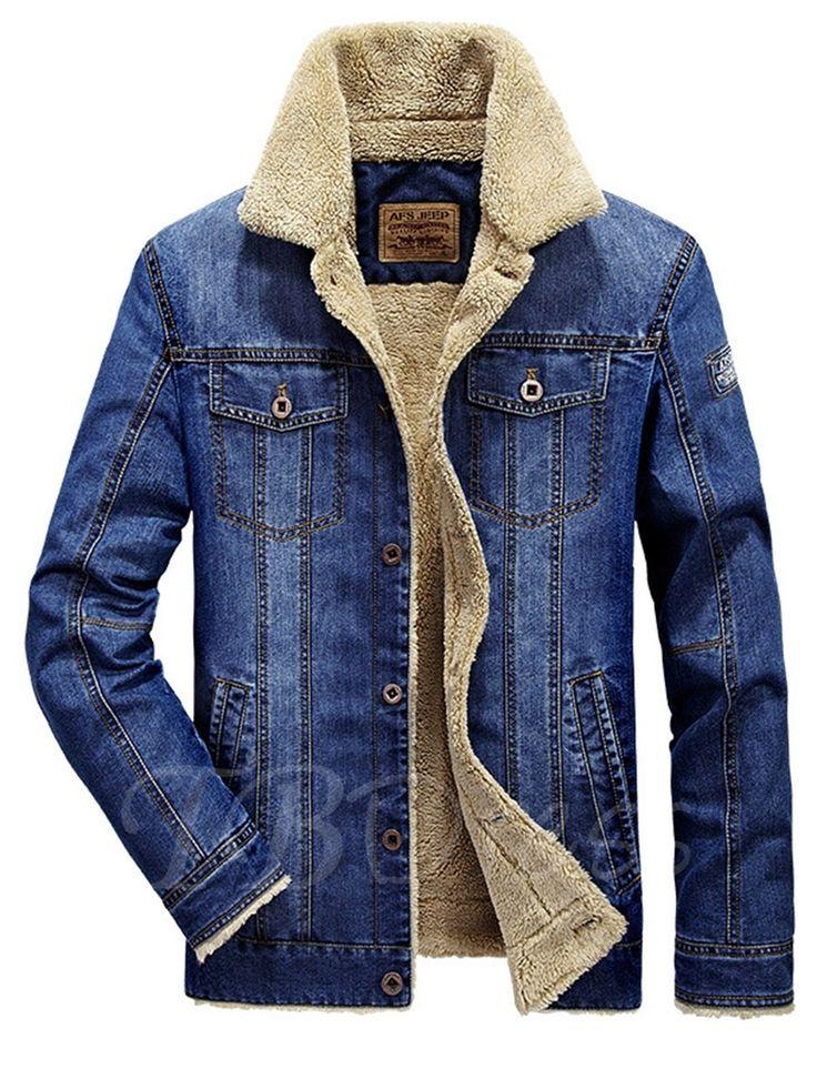 Tbdress.com offers high quality Lapel Winter Outdoor Thicken Warm Slim Casual Men's Denim Jacket Men's Jackets unit price of $ 43.99.