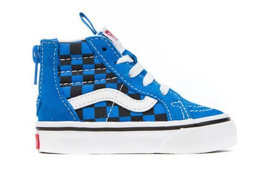 VANS SK8 HI ZIP CHECKER BLUE - Too Cool For School