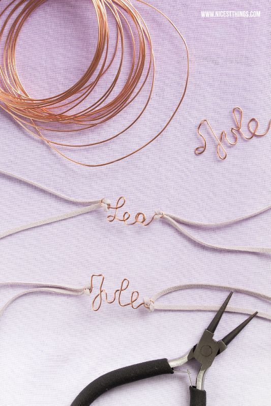 Bend the Wire Name Bracelet and DIY Seed Bags – gift idea for the farewell party
