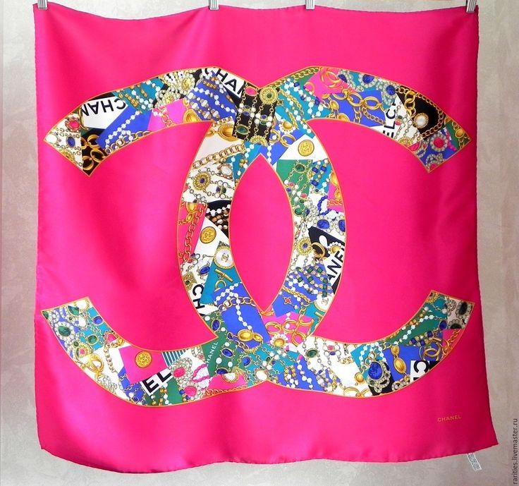 Купить Платок Chanel,Италия,100% шёлк,аутентичный,Шанель,шёлковый платочек - платок на шею