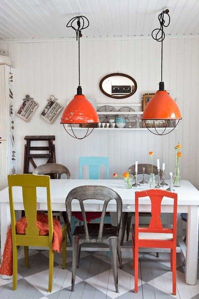 love this mix and match dining table. looks fun and interesting.
