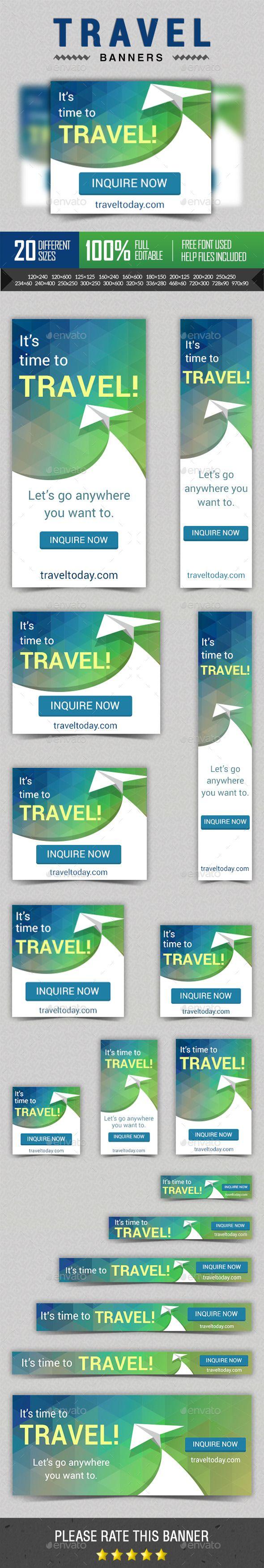 Travel - Vacation Ad Marketing Banners | #travelbannerstemplate #travelwebbanner | Download: http://graphicriver.net/item/travel-vacation-ad-marketing-banners/10299686?ref=ksioks