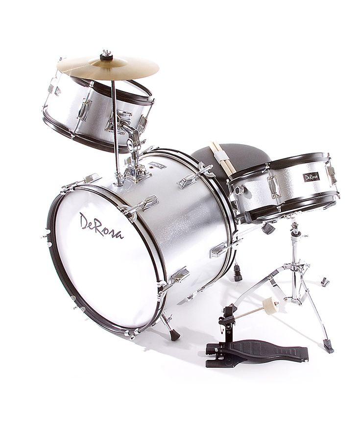 Silver De Rosa Three-Piece Kid's Drum Set